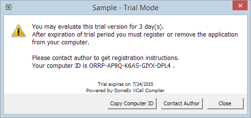Trial mode application warning