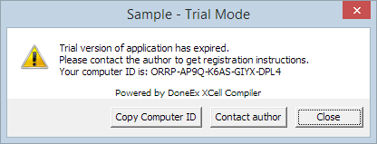 trial expiration warning for application compiled with Hardware Locking option