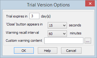 Trial/Demo version options settings form