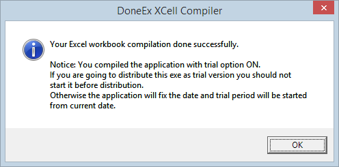 Trial version successfully compiled message