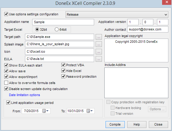XCell Compiler compilation form
