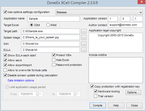 XCell Compiler form with selected copy protection option
