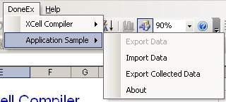 Compiled Application Export/Import menu access in Excel 2003