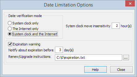 Date limitation options form