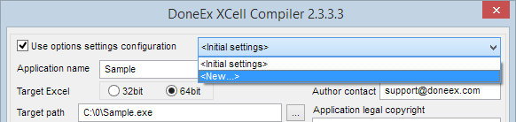 Select new settings configuration on compilation form