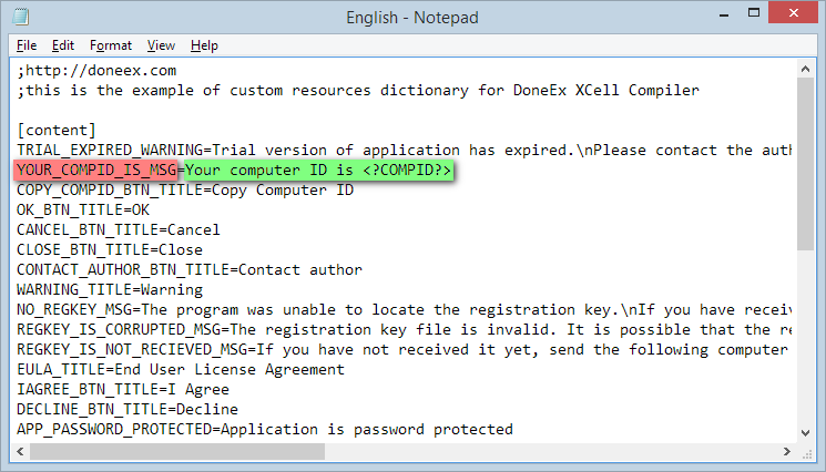 View of custom resources dictionary in Microsoft Notepad