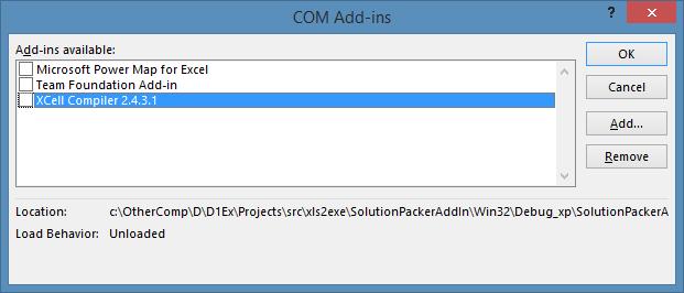 COM addins XCell Compiler