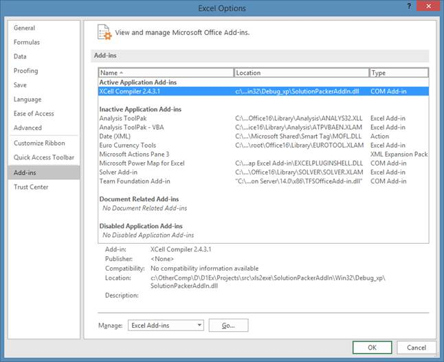 Excel Options XCell Compiler enabled