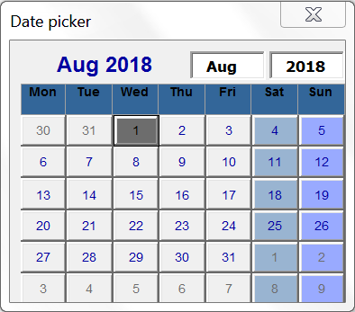 Bulk registration key calendar for date fields