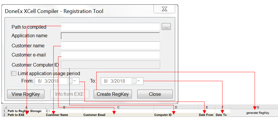 Registration Key Form Fields correspond to Bulk Registration Key Generator fields