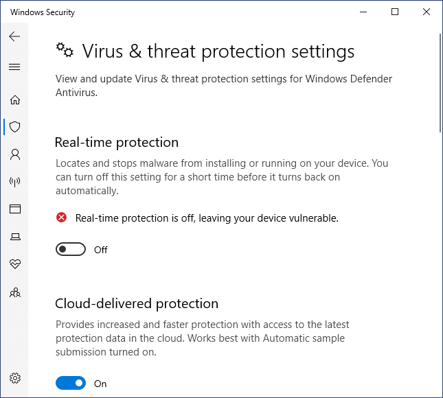 Windows Defender real protection off
